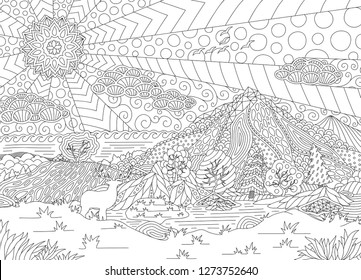 Monochrome illustration with beautiful landscape for adult coloring book pages