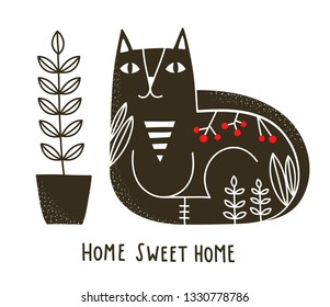 Monochrome illustration of black domestic cat. Vector print for art poster  and card.