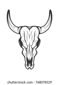 monochrome illustration of bull skull isolated on a white background