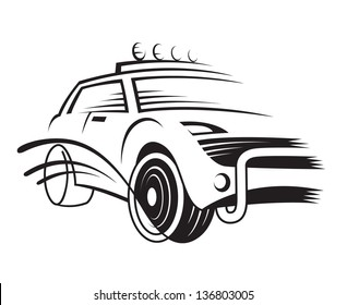 monochrome illustration of a car
