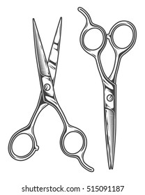 Monochrome illustration of chrome barber scissors. Isolated on white background