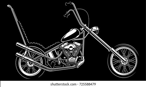 Monochrome illustration with classic  american chopper. Isolated on white background. (version on the dark background) Text is on the separate layer.