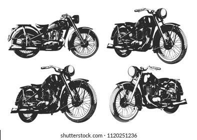 Monochrome illustration of clssic motorcycles in different angles isolated on white backgreound with grunge texture.