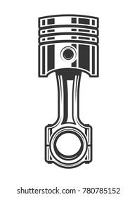 Monochrome illustration of engine piston isolated on a white background