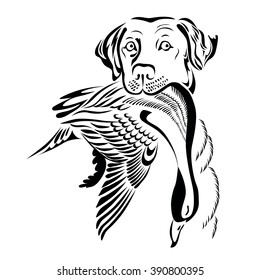 a monochrome illustration of  hunting dog with a duck