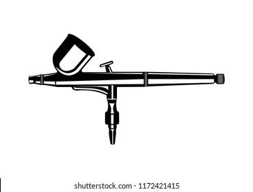 Monochrome illustration of metal spray gun. Isolated on white background. Airbrush icon, aerography tool.