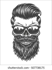 Monochrome illustration of skull with beard, mustache, hipster haircut and sunglasses with big city reflection. Isolated on white background