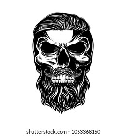 Monochrome illustration of skull with hair and mustache