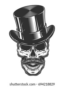 Monochrome illustration of skull with top hat and moustache isolated on white background