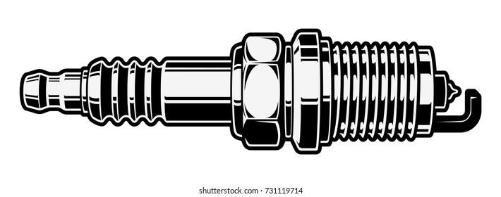 monochrome illustration of spark plug on white background (isolated)