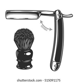 Monochrome illustration of straight razor and shaving brush. Isolated on white background