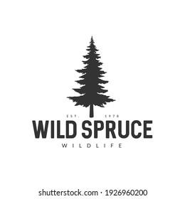 Monochrome illustration with a wild spruce logo on a white background.
