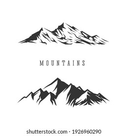 Monochrome illustrations with a mountains on a white background.