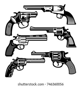 Monochrome illustrations of retro weapons. Revolvers vintage guns. Vector pictures set. Revolver gun and weapon monochrome black, pistol classic cowboy