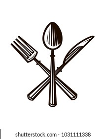 monochrome illustrations set of knife, fork and spoon