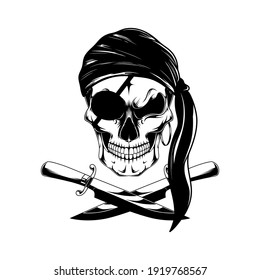 Monochrome image of a pirate skull with knives.