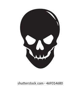 03992448b25e Monochrome image of smiling human skull isolated on white background.  Symbol of danger