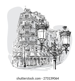 monochrome image - view on a Parisian street with a lantern in the foreground and a street cafe in the background. Vector Illustration