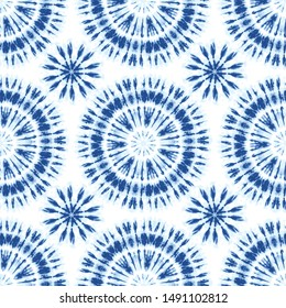 Monochrome Indigo Bright Tie-Dye Shibori Sunburst Circles on White Background Vector Seamless Pattern. Color-Separated. Perfect for Spring-Summer Textiles, Stationery
