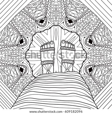 Monochrome Ink Drawing Tribal Patterns Coloring Stock Vector