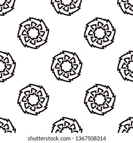 Monochrome Irish knot floral textile pattern. Allover vector motif for fabric, apparel textile, adult colouring book, interior, wallpaper, phone case. Monochrome eight petals runic flower design