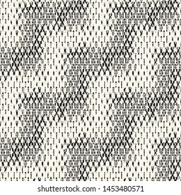 Monochrome Irregular Diagonal Zigzag Woven Effect Textured Background. Seamless Pattern.