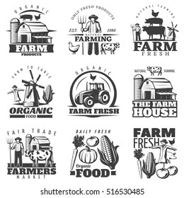 Monochrome isolated emblems set with farming house and organic food symbols vegetables on blank background vector illustration