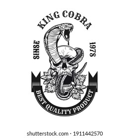 Monochrome king cobra in skull emblem. Retro design elements with human skull, snake and blooming flowers. Gothic or horror concept for label, stamp, tattoo template