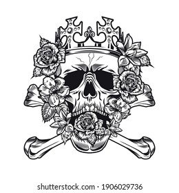 Monochrome king skull with roses in mouth vector illustration. Royal skull wearing crown and surrounded by flowers. Tattoo design and monarchy concept can be used for retro template, banner or poster