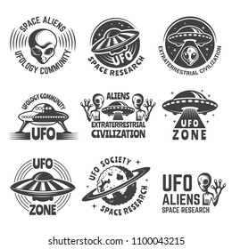 Monochrome labels or badges with pictures of aliens, ufo and space. Emblem with shuttle alien, new civilization exploration. Vector illustration