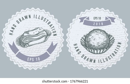 Monochrome labels design with illustration of eclair, truffle