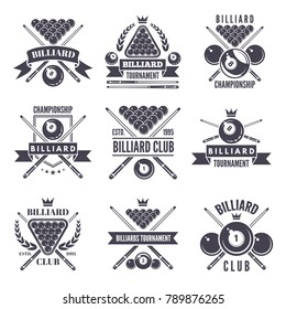 Monochrome labels or logos for billiard club. Vector illustrations of snooker balls. Billiard sport and snooker competition emblem