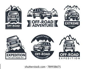 Monochrome labels set with suv cars. Automotive extreme label and emblem, motor vehicle for adventure. Vector illustration