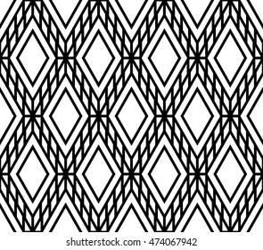 Monochrome lattice argyle seamless pattern background vector.