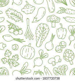 Monochrome line art seamless pattern with various organic vegetables. Repeatable background with healthy veggies and salad greens. Vector linear illustration
