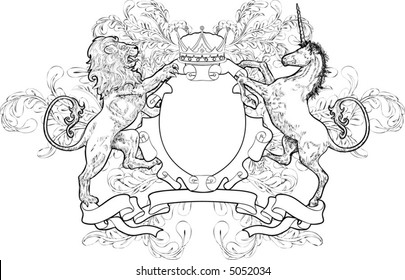 Monochrome Lion and Unicorn Coat of Arms A black and white shield coat of arms element featuring a lion, unicorn and crown