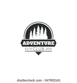 Monochrome logo, emblem Adventure club.