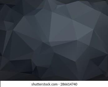 Monochrome low poly geometrical background. Dark grey