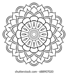Monochrome mandala for color book. A pattern in the circle. Illustration for the album. Pattern for printing on fabrics. Figure for relaxation and meditation. Coloring for children.