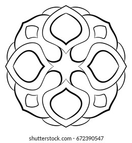 Monochrome mandala. Symmetrical pattern in the square. Contour illustration for color book. Drawing for scrapbook. Simple template for coloring.