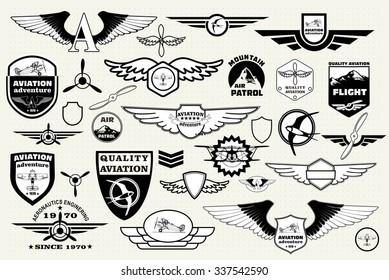Monochrome Mega Set of retro emblems, design elements , badges and logo patches on the theme aviation