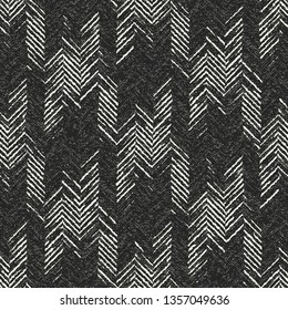 Monochrome Melange Checked Herringbone Textured Background. Seamless Pattern.