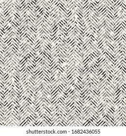 Monochrome Melange Textured Herringbone Background. Seamless Pattern.