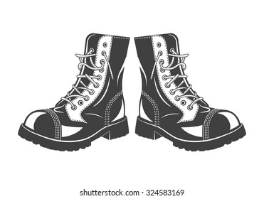 Monochrome military jump boots on a white background. Vector EPS8 illustration.