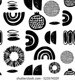Monochrome minimalistic tribal seamless pattern with pomegranate, ethnic sun, crescent, seed, maize corn, arcs, curves, ball. Inspired by signs of aboriginal culture. Vector background for nursery.