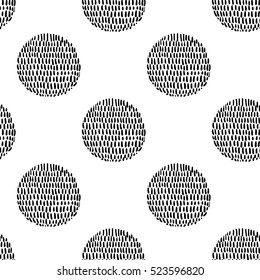 Monochrome minimalistic tribal seamless pattern with sun ball. Inspired by signs of primitive aboriginal culture. Vector background with isolated inky black art on white backdrop for nursery.