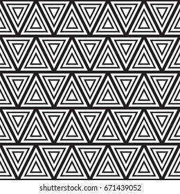 Monochrome minimalistic tribal triangles design. Seamless vector pattern
