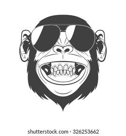 Monochrome monkey with sunglasses isolated on white background. Vector EPS8 illustration.