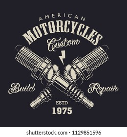 Monochrome motorcycle service logotype with letterings and crossed spark plugs in vintage style isolated vector illustration