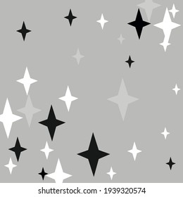 Monochrome Mystery Gray Stars Cozy Design Pic. Print Winter Chaotic Night Sky Wallpaper. Silver Grey Dark Magic Black Wallpaper. Four-pointed Christmas Holiday New Year White Pattern.